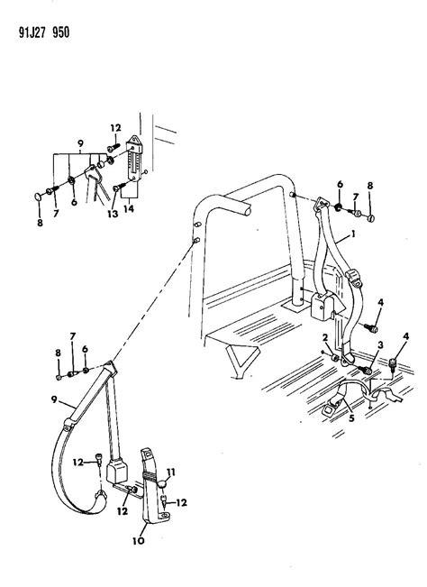 jeep wrangler seat parts 1993 jeep wrangler seat belts wrangler yj 1992 93