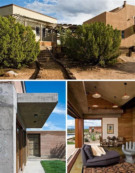 rustic modern concrete rammed earth house design
