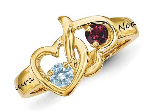 14k solid gold tangled hearts couples birthstones engraved