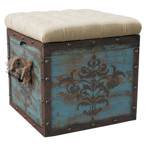 square fabric storage ottoman storage cube ottoman square fabric top rustic distressed