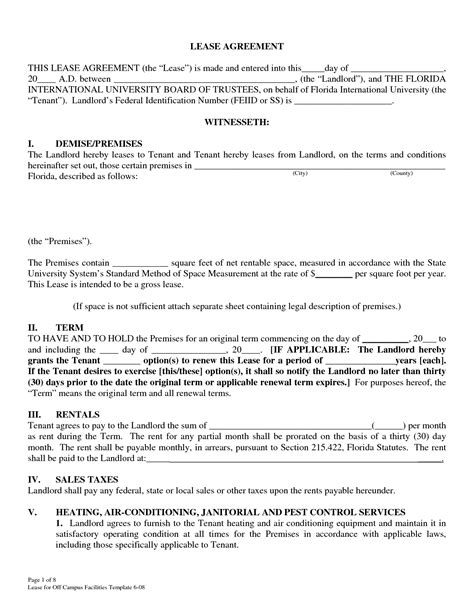 Lease Agreement Template Florida Rental Agreement Template Florida Free