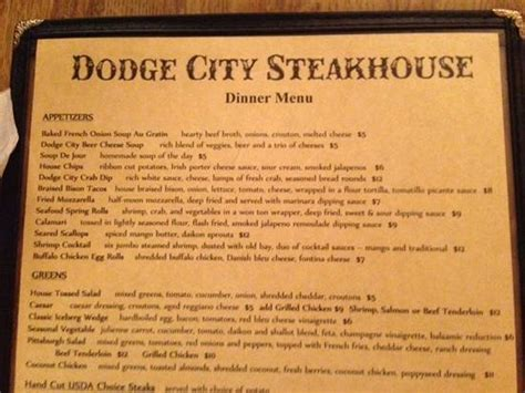 restaurants in dodge city menu from dodge city picture of dodge city steakhouse