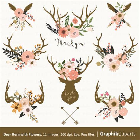 hochzeitseinladung hirschgeweih deer horn with flowers floral antlers clip rustic