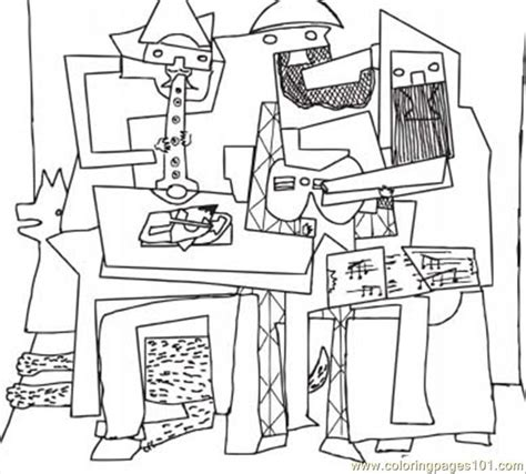 coloring pages three musicians by pablo picasso other