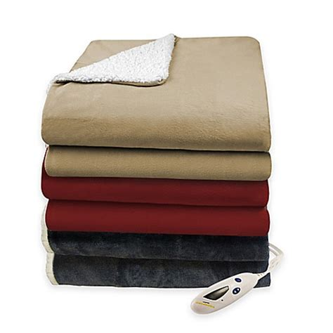electric blanket bed bath and beyond biddeford 174 solid velour heated blanket with sherpa lining