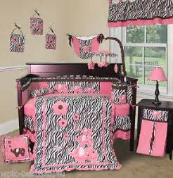 baby boutique pink zebra 13 pcs crib nursery bedding set