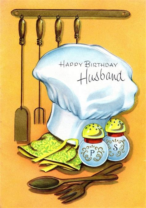 Happy Birthday Husband Chef Themed 1960s Birthday Card