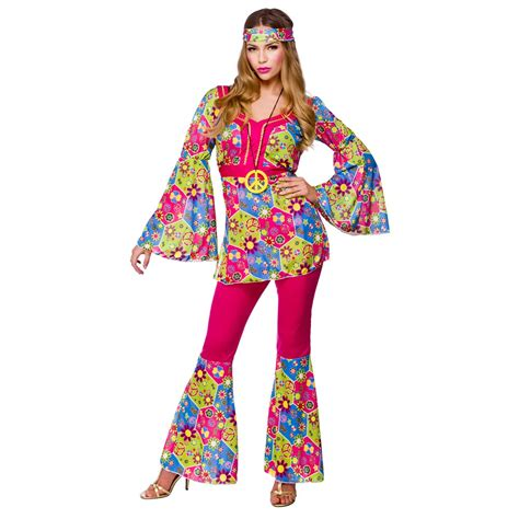 womens hippie hippy fancy dress costume 60s 70s