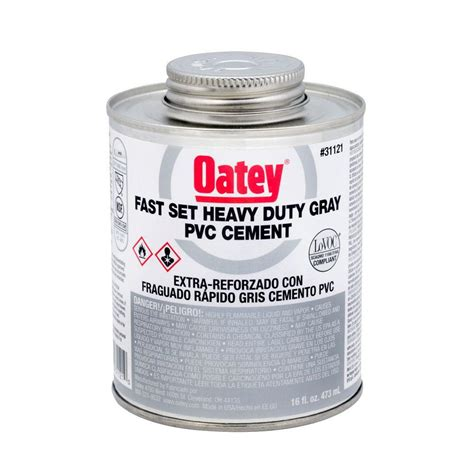 oatey 16oz heavy duty gray pvc cement 311213 the home depot