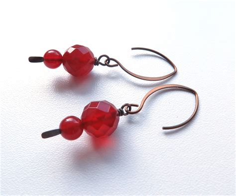 Earrings Australia Handmade - carnelian rust colour dangle handmade earrings australian
