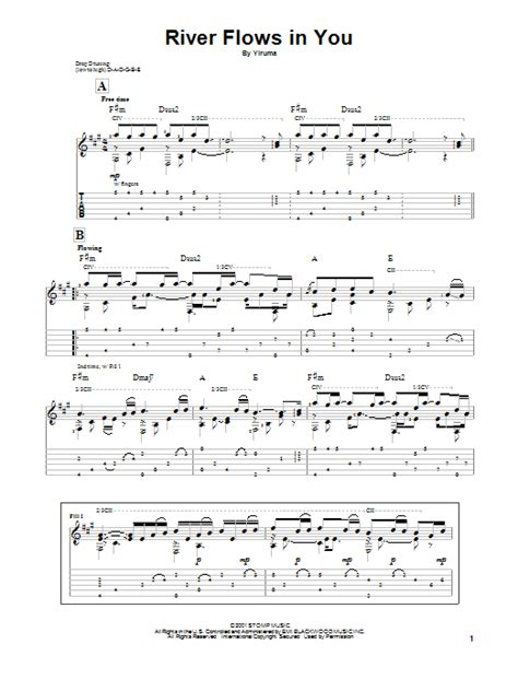 Tutorial Guitar River Flows In You | river flows in you guitar tab by yiruma guitar tab 89776