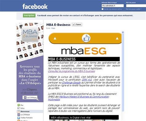 Mba In Ecommerce In Usa by Le Mba Esg E Business Lance Une Cvth 232 Que Sur