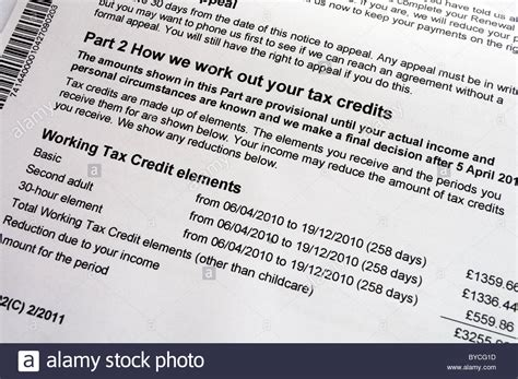 How To Get Tax Credit Award Letter a tax credits award notification form stock photo