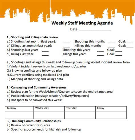 staff meeting agenda template staff meeting agenda 7 free for pdf