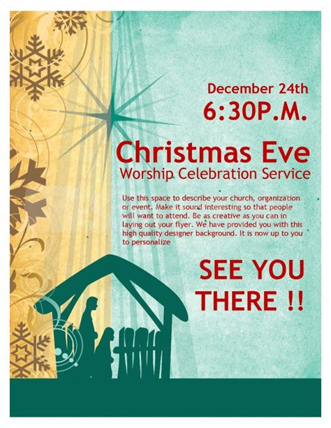 Christmas Eve Service Church Flyer Template Flyer Templates Nativity Flyer Template