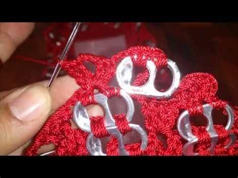 tejer con fichas de lata parte 1 de 3 bolsa a crochet con abanicos y anillas de