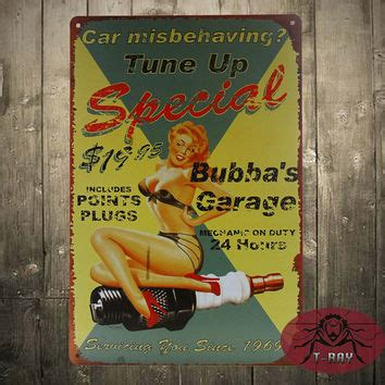 pin up beauty vintage tin signs bar pub home wall decor best garage metal signs products on wanelo