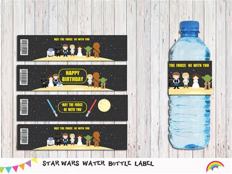 Printable Star Wars Drink Labels   printable star wars water bottle label party by