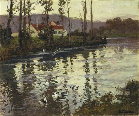 Duvet In French River Landscape With Ducks Painting By Fritz Thaulow