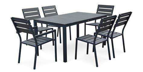 table et chaise de jardin en aluminium salon de jardin 6 places en aluminium et polywood