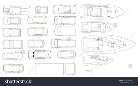 vehicle top view vehicles top view vector stock vector 481429522