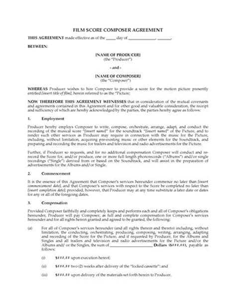 work made for hire agreement template score composer agreement work for hire