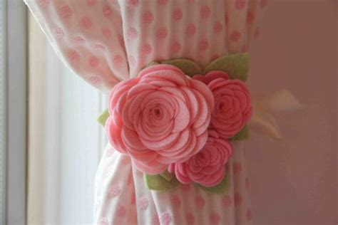 rose curtain holdbacks two felt rose curtain tiebacks for drapery pink and