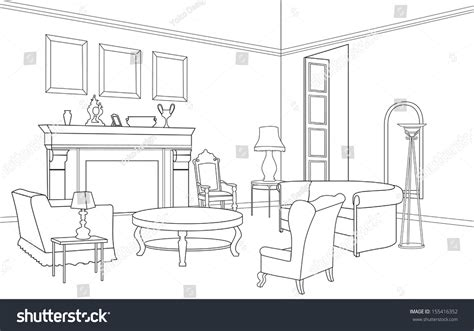 sketch room drawing room editable vector illustration of an outline