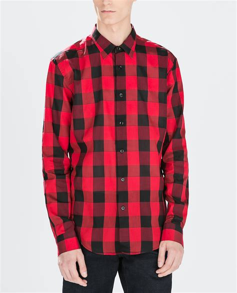 Zaraman Cotton Shirt zara sleeve checked shirt in for lyst