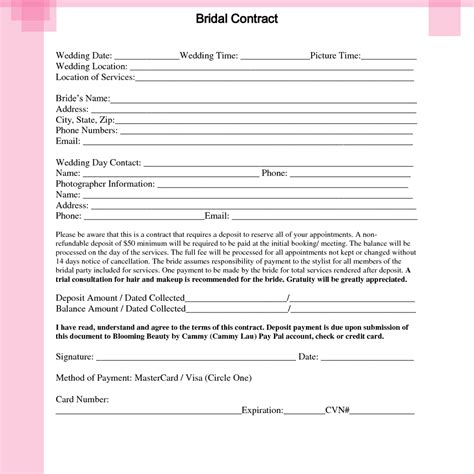 Wedding Hair And Makeup Contract Template by Bridal Hair And Makeup Contract Template 21gowedding