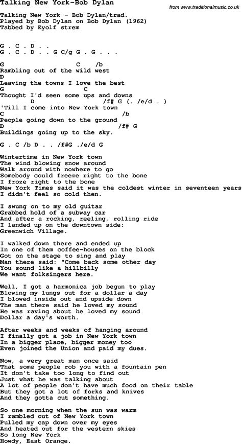 song nyc blues guitar lesson for talking new york bob dylan with