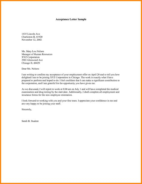Letter For Acceptance For acceptance letter sle with left align profile