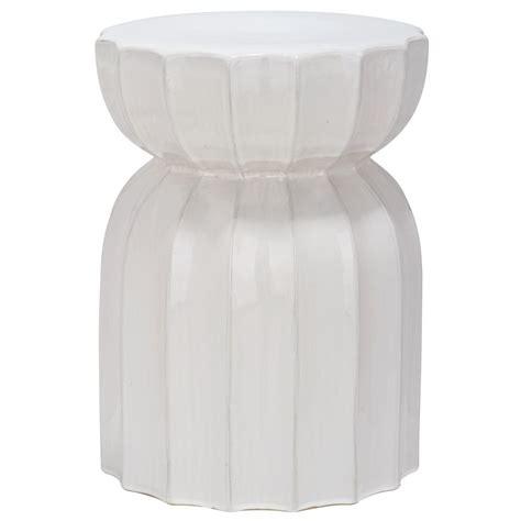 White Ceramic Garden Stool by Enlarged Image