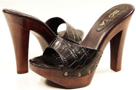 slide high heel sandals womens high heel wooden slide sandals black brown ebay