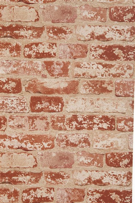 fake exposed brick wall brick trompe l oeil wallpaper