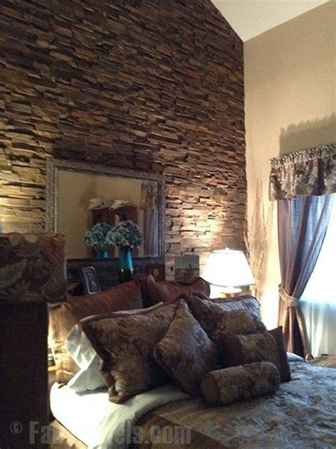 stone accent wall bedroom faux stone panels create a rugged accent wall for a
