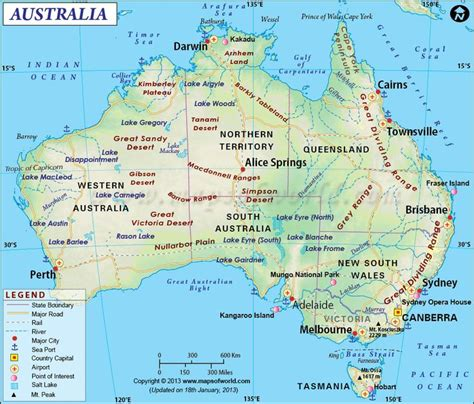 map of southern australia with cities australia maps