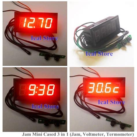 Jam Digital Kisi Ac Mobil Dengan Termometer jam mini cased 3 in 1 jam voltmeter termometer ical