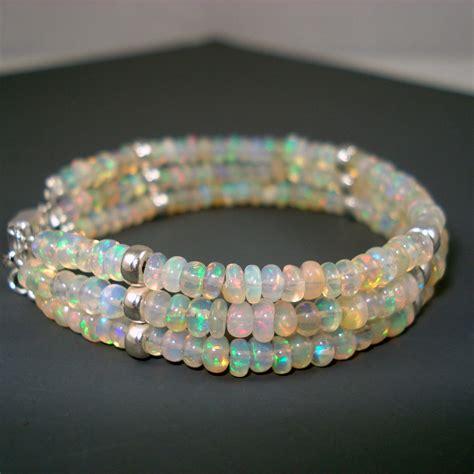 opal bracelet opal and sterling silver rondelles