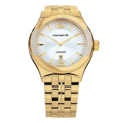 s with diamonds in gold tone stainless steel