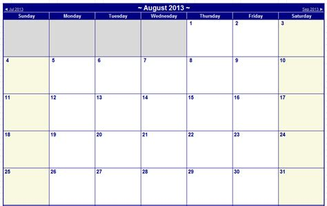 august 2013 calendar printable august september 2013 printable calendars tech livewire