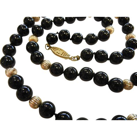14k gold spacer black onyx sphere bead necklace w 14k gold spacers
