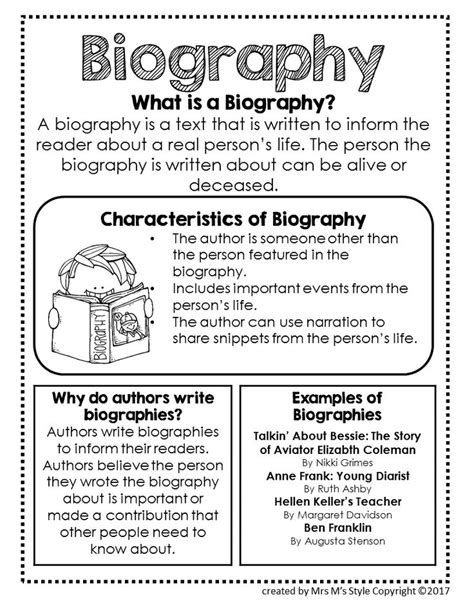 structure of a biography for students 25 best ideas about genre anchor charts on pinterest
