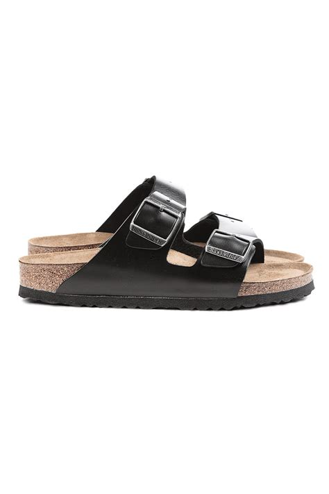 black sandal birkenstock arizona amalfi leather sandals in black lyst