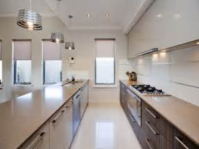 modern galley kitchen ideas modern galley kitchen design using polished concrete