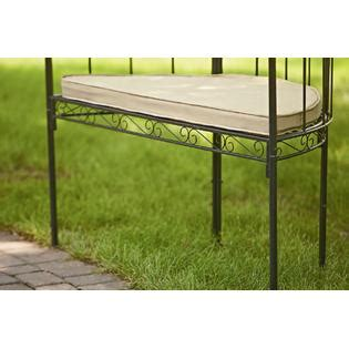 metal garden arbor with bench garden oasis metal arbor with bench and cushion outdoor