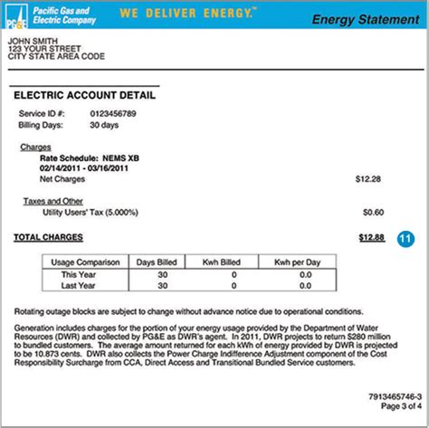 11. Electric Charges on PG&E Bill