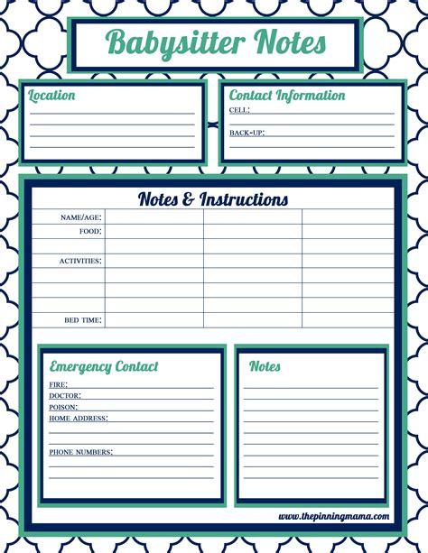 printable daily schedule babysitter babysitter information babysitter checklist babysitter