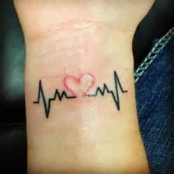 Black heartbeat with pink heart tattoo on wrist