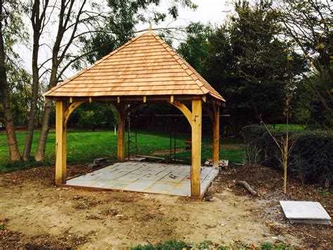 green oak framed wooden gazebo garden building pergola